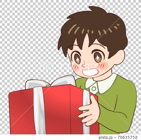 선물을 받고 기뻐하는 소년의 그림 70635758