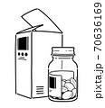 薬の箱と瓶の錠剤 70636169