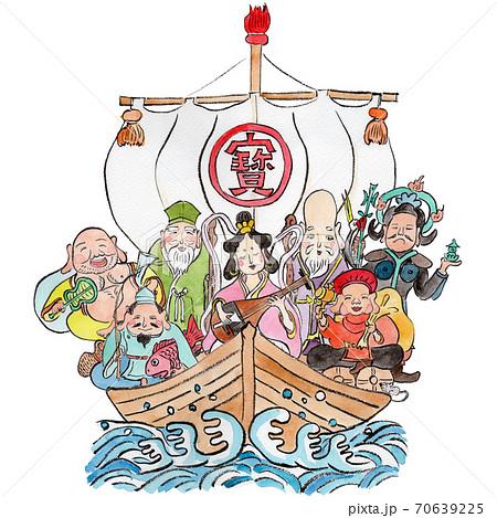 宝船と七福神の手描き水彩イラスト 70639225