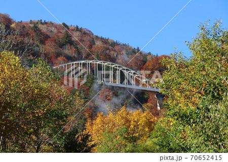 紅葉に映える白い橋と白い地熱発電の蒸気 70652415