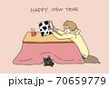 年賀状丑年2021年こたつと猫ピンク 70659779