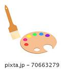 絵の具をのせたパレットとブラシ 70663279
