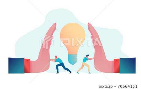Business team resists blocking or stealing ideas.  Flat vector illustration. Metaphor for protecting intellectual property rights 70664151