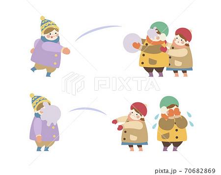 雪合戦する子供たち 2コマ セット  70682869