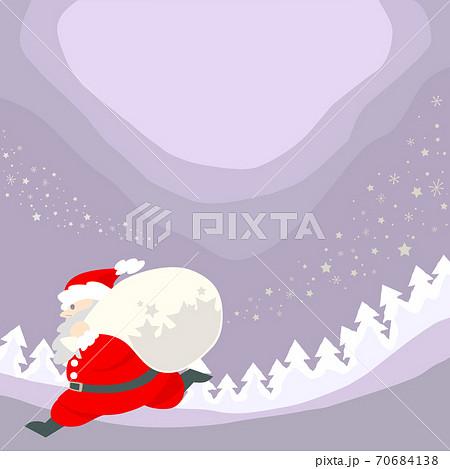 プレゼントの袋を背負って駆けるサンタクロース - 正方形・背景素材 70684138
