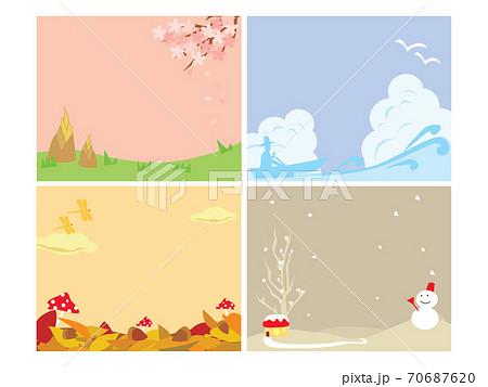 四季の文字なし背景素材、春夏秋冬イメージのイラスト素材 [70687620 ...