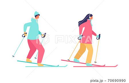 スキーをする冬の若いカップルのイラスト 70690990