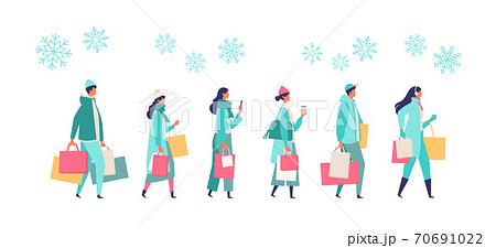 冬の買い物に行く人々のイラスト 70691022