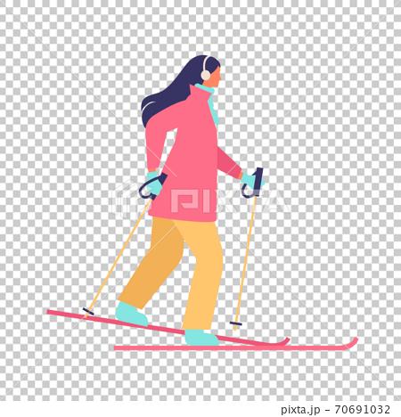冬季女子滑雪的插圖 70691032