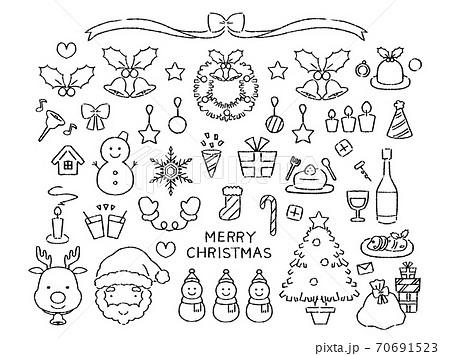 モノクロのクリスマス素材 70691523