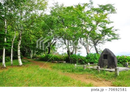 河口湖天上山公園(カチカチ山) ナカバ平展望広場と太宰治記念碑 70692581