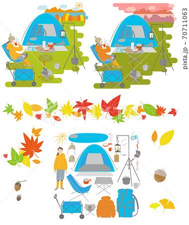 キャンプをする女性セット 70711063