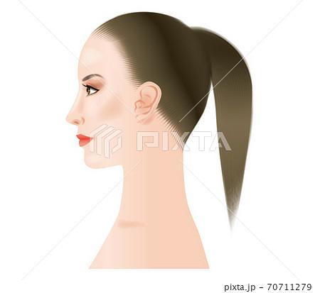 濃い目の化粧をした女性の横顔. 70711279