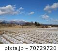 冬の田んぼと浅間山の風景 70729720