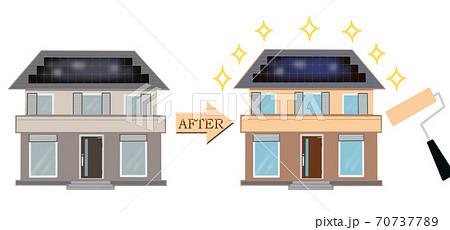 マイホームの外壁塗装の塗り替えイメージ  住宅の塗装塗り替え前と塗り替え後の違い イラスト 70737789