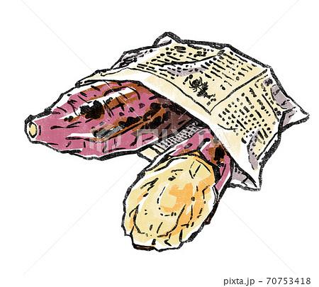 新聞紙で作った袋に入った石焼き芋 版画風 70753418