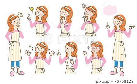 エプロン姿の女性の色々な表情セット 70768128