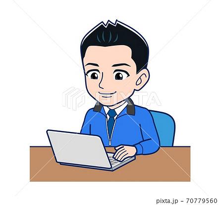 Male clerk in a blue outerwear 70779560