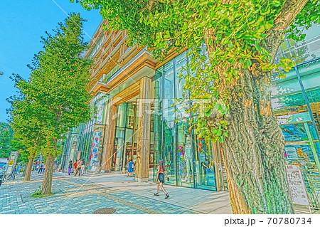 [アニメ風] 東京都の都市風景 原宿駅前周辺の風景 70780734