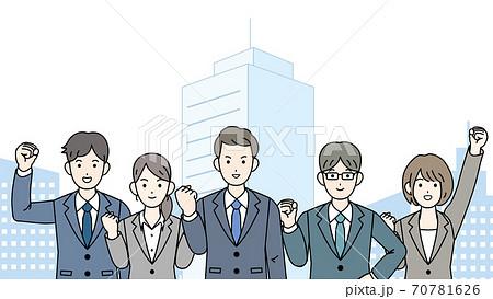 チームワーク ビジネスマン 男女 70781626