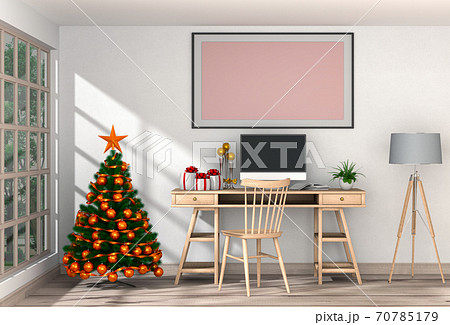 Christmas interior workspace with computer. 3d render 70785179