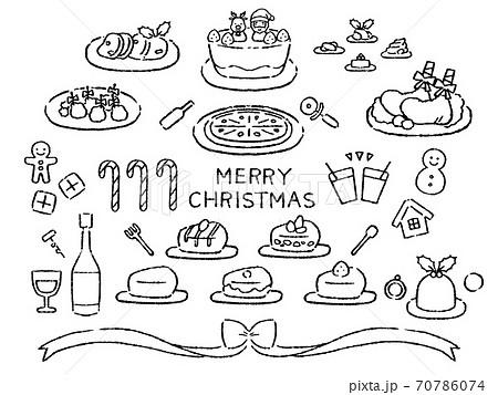 モノクロ クリスマス素材 料理 70786074