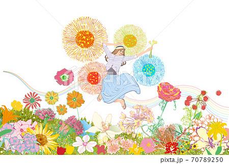 花畑の中で、嬉しくてジャンプする女性のイラスト 70789250