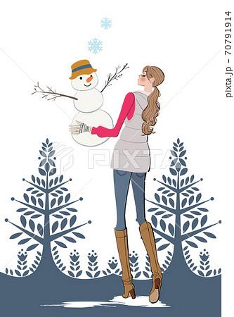 冬、雪だるまを作る女性のイラスト 70791914