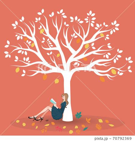 秋、紅葉の木の下に座り読書する女性のイラスト 70792369