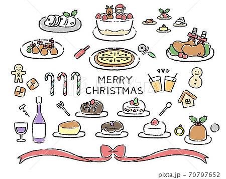 カラー クリスマス素材 料理 70797652