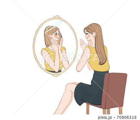 朝、出かける前に、鏡を見て今日も一日頑張ろうと思う女性のイラスト 70806319