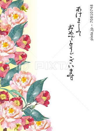 椿と牡丹の花年賀状 70810748