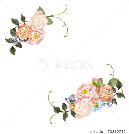 水彩のお花のブーケ デコレーション 70810752