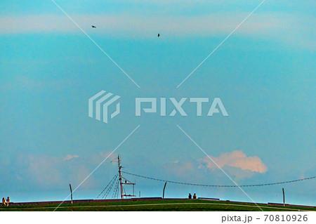 横浜港・大さん橋、青空を背景に「くじらのせなか」でくつろぐ二人連れ2組と空を舞う鳥2羽 70810926