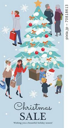 クリスマスセールのバナー アイソメトリック クリスマスの人々 イラスト 70818613