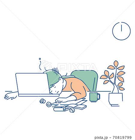 リモートワーク/疲労困憊の女性/3色 70819799