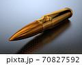 3d illustration of a golden bullet or cartridge close up 70827592