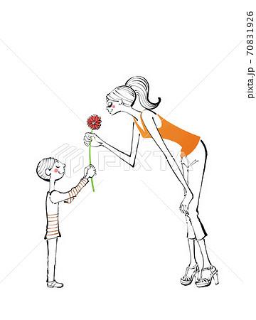 ママに花をプレゼントする子供のイラスト 70831926