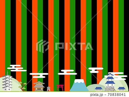 城下町 日本の風景 定式幕背景 70838041