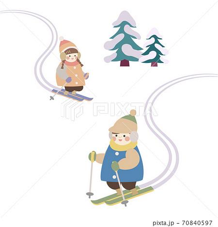 スキーをする子供たち 70840597