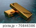 3D gold bars lie in vault on a glossy textured dark surface 70846386