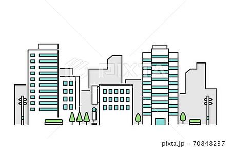 ビルやオフィスのある都市部の風景 イメージイラスト素材 70848237