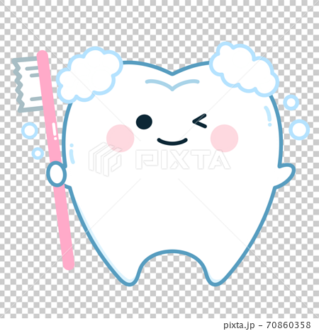 Tooth character with a toothbrush (toothpaste) 70860358