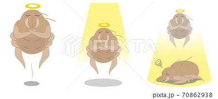 天に召されるダニのイメージイラスト - セット 70862938