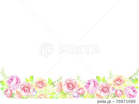 水彩で描いた薔薇の花の背景イラスト 70871089