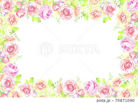 水彩で描いた薔薇の花のフレーム 70871090