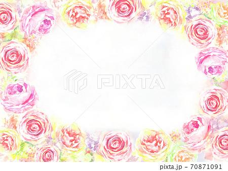 水彩で描いた薔薇の花のフレーム 70871091