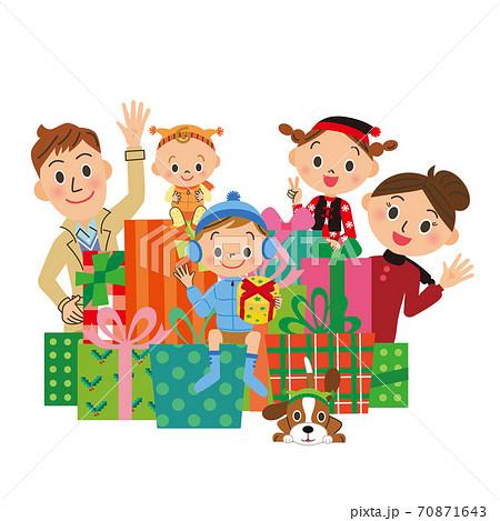 クリスマス プレゼントボックス イラスト 家族 70871643