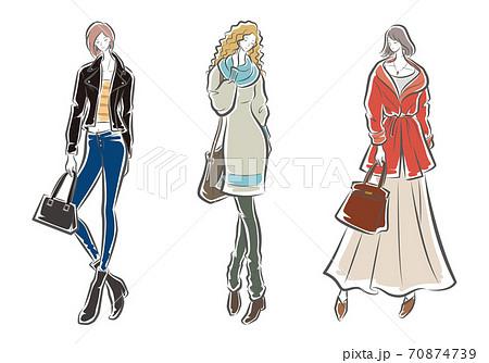女性のファッションイラスト 70874739