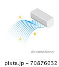 エアコンのアイソメのイラスト、流線形のブルーのグラデーションの風 70876632